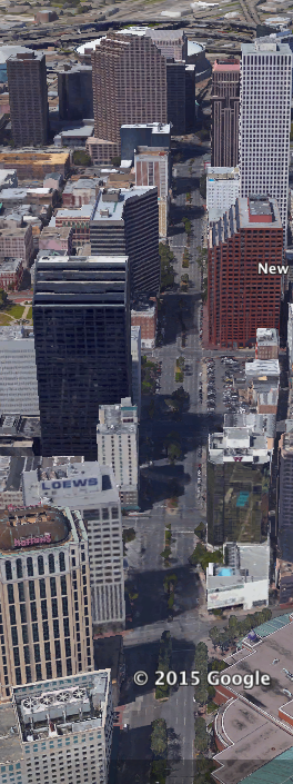 Aerial view of current day Poydras Street. Image via Google Maps.