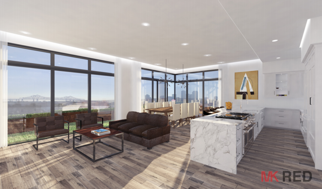 Upriver penthouse interior. Photo by MK RED.
