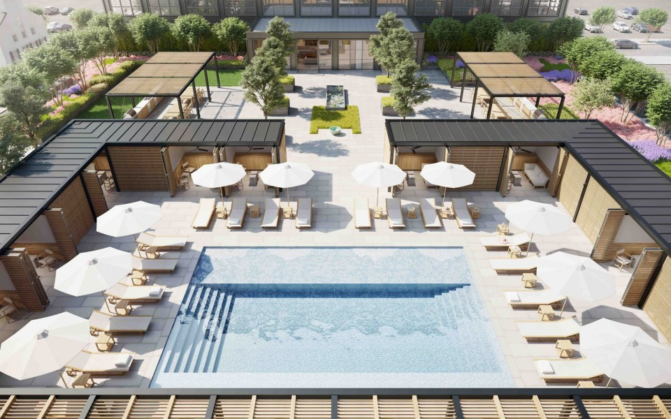 Rendering of the The Standards's pool deck, via Domain Companies.