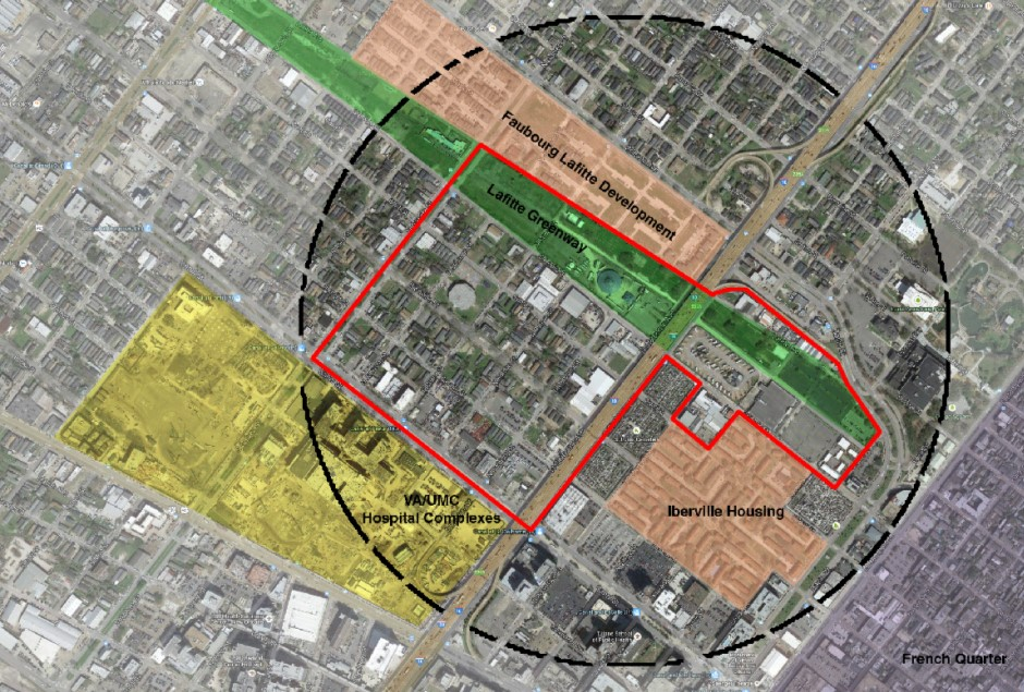 Photo via ULI (Daniel Lobo).  Aerial view with the competition primary study area outlined in red.