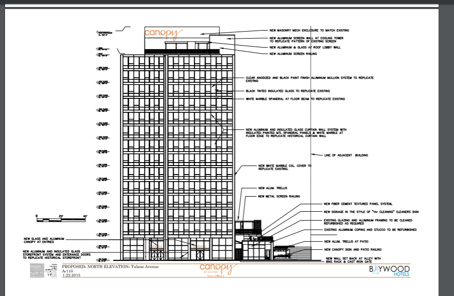 Plans for the new Canopy Hotel via City of New Orleans.