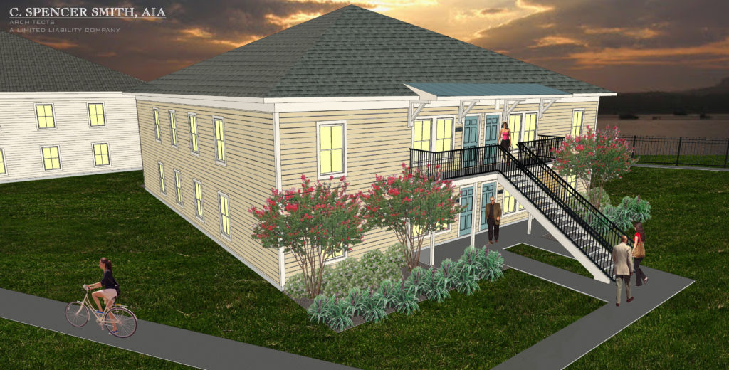 Rendering of the Village of Versais two-story apartment buildings via Bellwhether Enterprise.