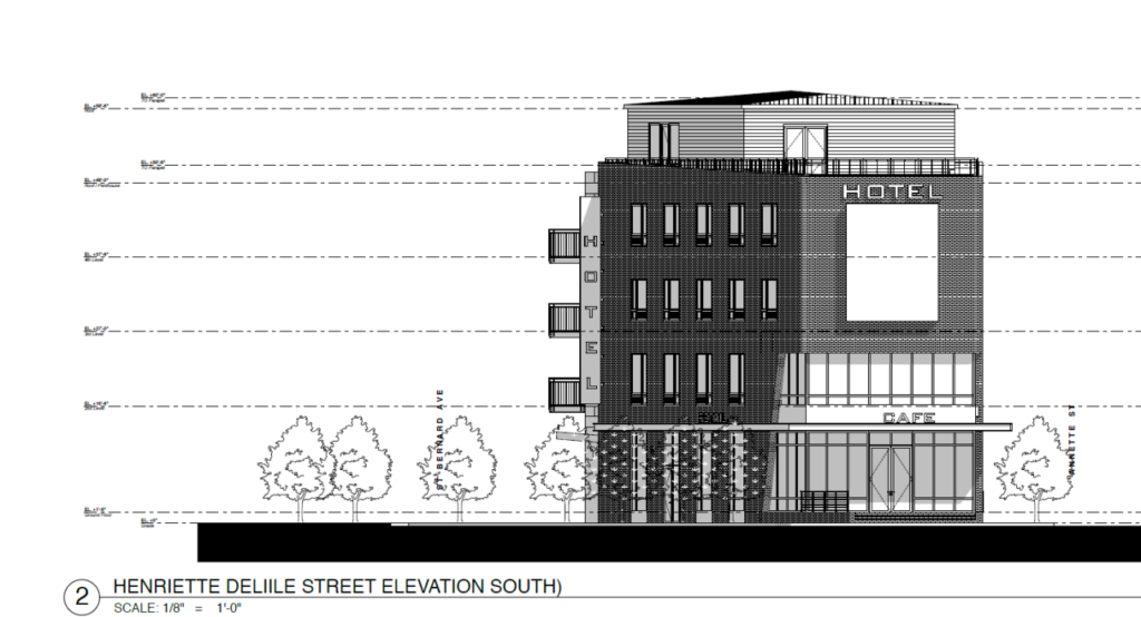Renderings of the proposed hotel at 1201 St. Bernard Street by CCWIV Architecture, LLC via City of New Orleans.