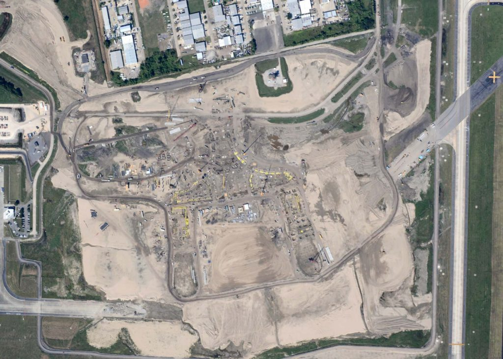 Aerial photo of the construction site via flymsy.com's October Board Update.